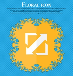 Deploying video screen size icon sign Floral flat vector