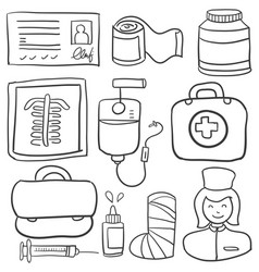 doodle of medical element style vector image