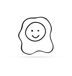 doodle omelette with smile icon kids hand drawing vector image