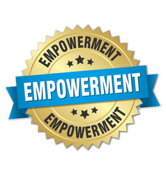 Empowerment round isolated gold badge vector