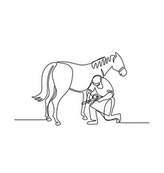 Farrier and horse continuous line vector