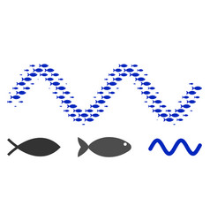 Fish halftone sinusoid wave composition vector