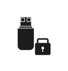 flash drive black lock icon vector image