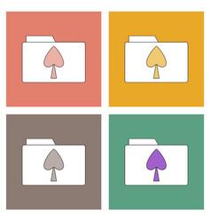 Flat icon design collection spade symbol on folder vector