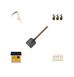 Flat icon garden set of shovel flowerpot cutter vector