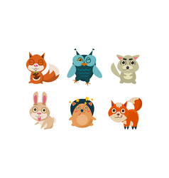 Flat set of cute cartoon animals funny vector