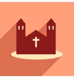 Flat web icon with long shadow church vector