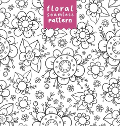 Flowers doodle pattern vector image