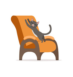 funny red cat awaking and stretching its body on vector image