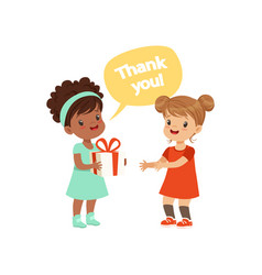 Girl thanking a friend for a gift kids good vector