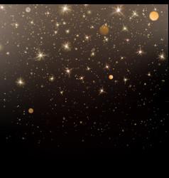 glitter gold light shine effect black background vector image