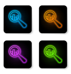 glowing neon magnifying glass and data analysis vector image