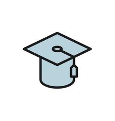 graduation cap judges hat flat color icon vector image