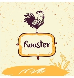 Hand drawn rooster on shield vector image