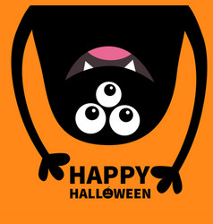 Happy halloween card smiling monster head vector