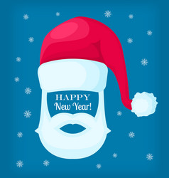 happy new year santa claus cap and white beard vector image