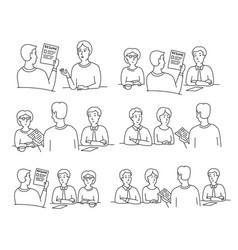 Hr interview sketch set employee screening vector