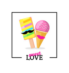 ice cream couple with lips mustaches love card vector image