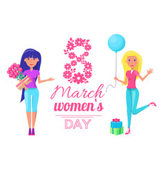 international womens day lady bouquet flowers vector image