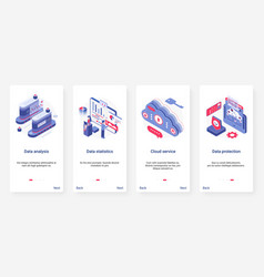 Isometric data analysis storage and protection ux vector