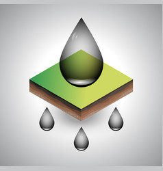 Isometric piece of the soil with petroleum drops vector