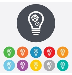 Light lamp sign icon Bulb with gears symbol vector