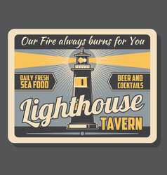 Lighthouse tavern beer and food pub marine poster vector