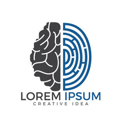 Logo icon with brain and fingerprint vector