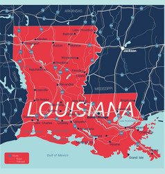 Lousiana state detailed editable map vector