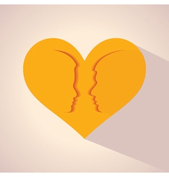 male and female face and symbol with heart vector image