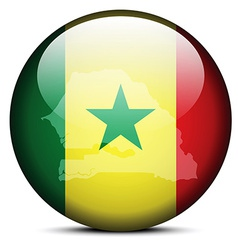 Map on flag button of Republic Senegal vector