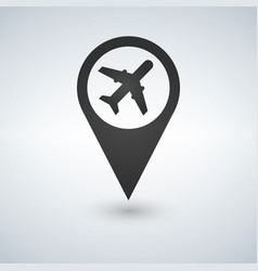 map pointer with air plane icon vector image
