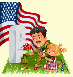 memorial day man with children on military vector image