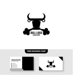 Minimalist head bull cow buffalo logo design vector