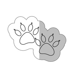 Monochrome contour middle shadow sticker with dog vector