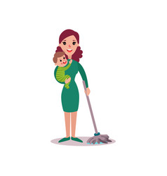 Mother cleaning the floor with baby in her arms vector