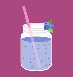 Mug of blueberry smoothies vector