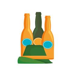 oktoberfest three beer bottles and hat vector image