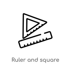 Outline ruler and square measuring tools icon vector