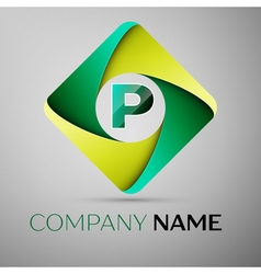 P letter colorful logo in the rhombus template for vector