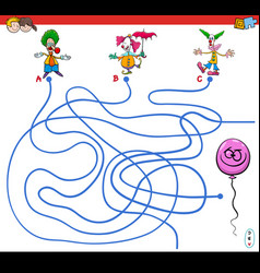 Paths maze game with clowns and balloon vector