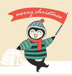 penquin in winter warm sweater and holding red vector image