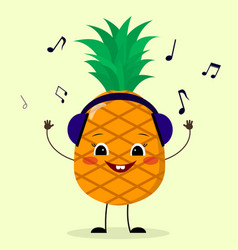 Pineapple smiley in headphones vector