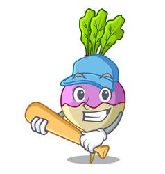 Playing baseball cartoon rutabaga root on the vector