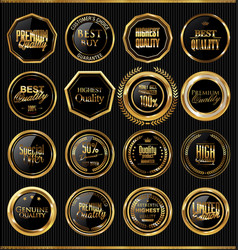 premium quality golden badges collection 2 vector image