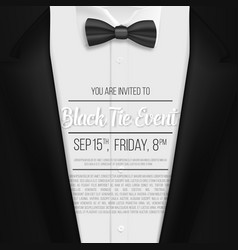 Realistic black suit black tie event invitation vector