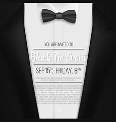 Realistic black suit black tie event invitation vector