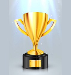 realistic golden trophy with light beam award cup vector image