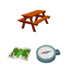 Rest in the camping cartoon icons in set vector