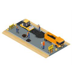 Road construction scene concept 3d isometric view vector